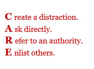 Text Box: Create a distraction. Ask directly. Refer to an authority. Enlist others.