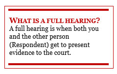 Text Box: WHAT IS A FULL HEARING?  A full hearing is when both you and the other person (Respondent) get to present evidence to the court.